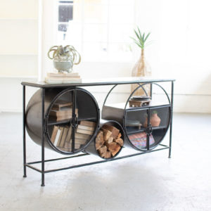 Iron And Glass Circles Console