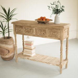 Wood Console W Four Drawers & Lower Shelf - 52x15x39.75t