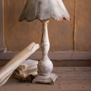 Table Lamp - Wood Base With Rustic Scalloped Metal Shade