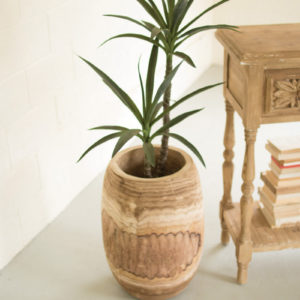 """Giant Hand Carved Wooden Urn - 22""""T"""