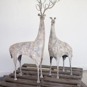 Set Of Two Metal Deer
