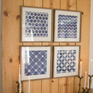 Set Of Four Blue Block Geometric Prints Under Glass