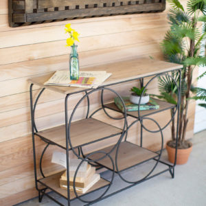 Metal And Wood Console With Round Metal Detail