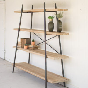 Four Tiered Wood And Metal Display Shelf