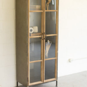 Wood And Metal Cabinet With Glass Doors