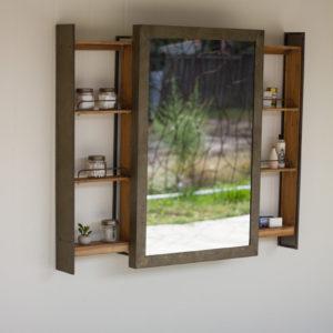 Shelf With Rolling Mirror Door
