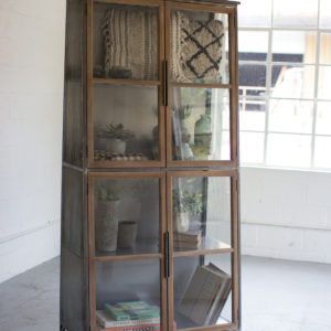 Metal & Wood Slanted Display Cabinet W/ Glass Doors