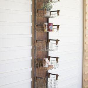 Recycled Wood & Metal Wall Rack W Six Wire Storage Baskets