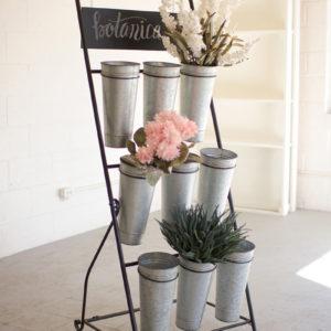 Flower Rack With Nine Galvanized Buckets