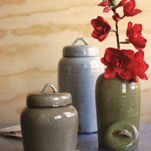 S Of 3 Ceramic Canisters - Sage Grey & Brown