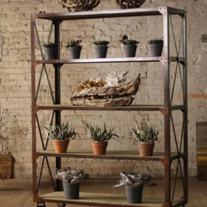 Tall Iron And Wood Display With Five Shelves And Iron Caster