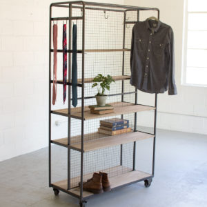 Raw Metal Rolling Closet On Metal Casters