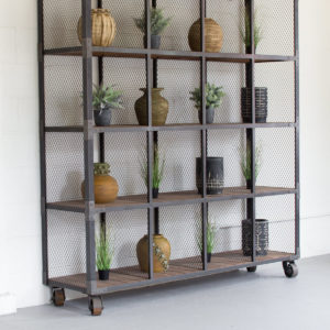 Raw Metal And Recycled Honey Wood 16 Cube Display Unit