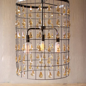 Large Cylinder Pendant Light With Amber Hanging Gems