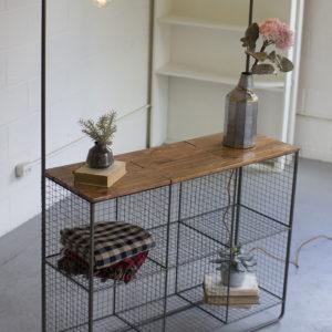 Wall Display W/three Lights-six Wire Cubbies & Wood Shelf