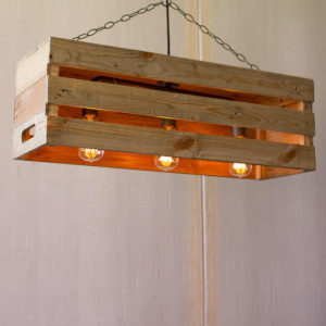 Recycled Wood Crate Pendant Light