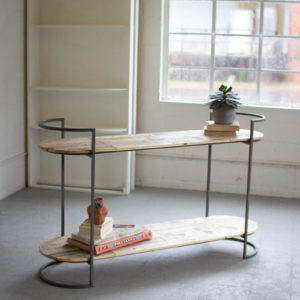 Oval Recycled Wood And Iron Console