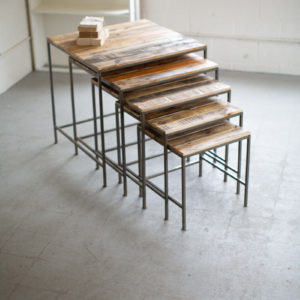 Set Of Five Recycled Wood And Iron Square Display Tables