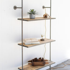 Recycled Wood And Iron Wall Shelf With Light