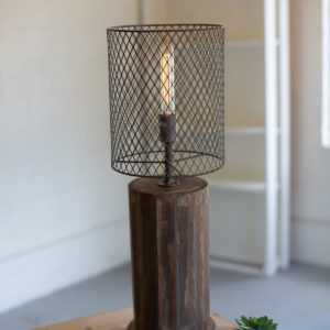 Round Recylcled Wooden Table Lamp With A Wire Mesh Shade