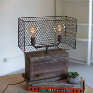 Rectangle Recylcled Wooden Table Lamp W A Wire Mesh Shade