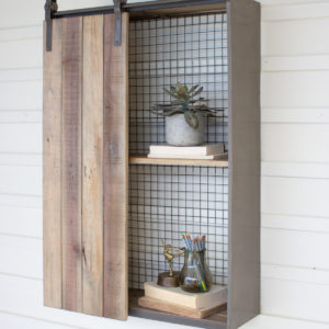 Recycled Wood And Metal Shelf With Rolling Door