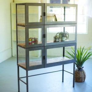 Recy Wood & Metal Display Case W Wire Mesh & Glass Doors