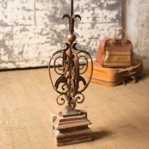Hand Forged Iron Spire With Wooden Base