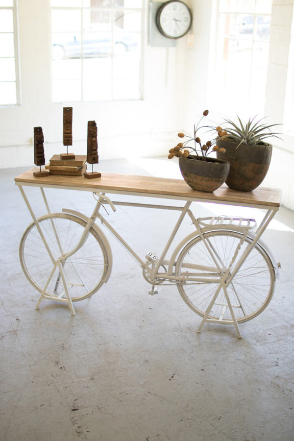 Repurposed Bicycle Display Shelf - White