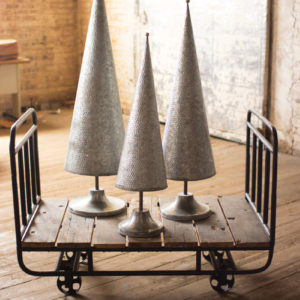 Set Of Three Galvanized Topiaries With Brass Detail