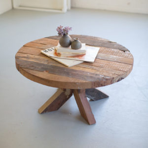 Round Recycled Wood Coffee Table