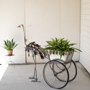 Recycled Iron Ostrich With  Drink Tub Cart