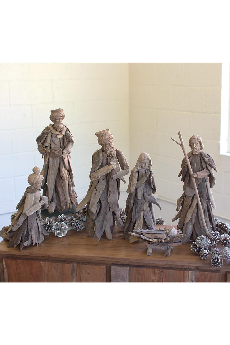 Set Of 6 Driftwood Nativity Set