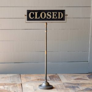 Merchants Open/Closed Sign on Stand