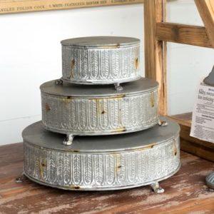 Vintage-Style Round Tinwork Display Platforms