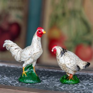 Cast Iron Rooster & Hen Set of 2