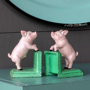 Cast Iron Pig Book Ends