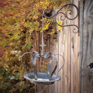 Hanging Crown Bird Feeder with Metal Wall Bracket