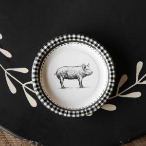 Black & White Pig Pattern Dessert Salad Plate