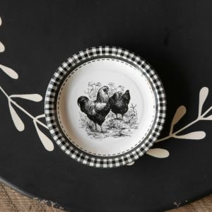 Black & White Rooster Dessert Salad Plate