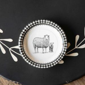 Black & White Sheep Dessert Salad Plate