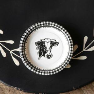 Black & White Cow Dessert Salad Plate