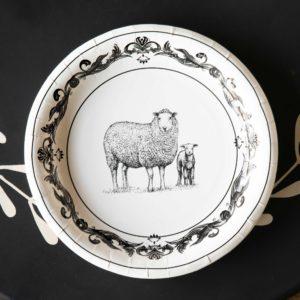 Black & White Sheep  Dinner Plate