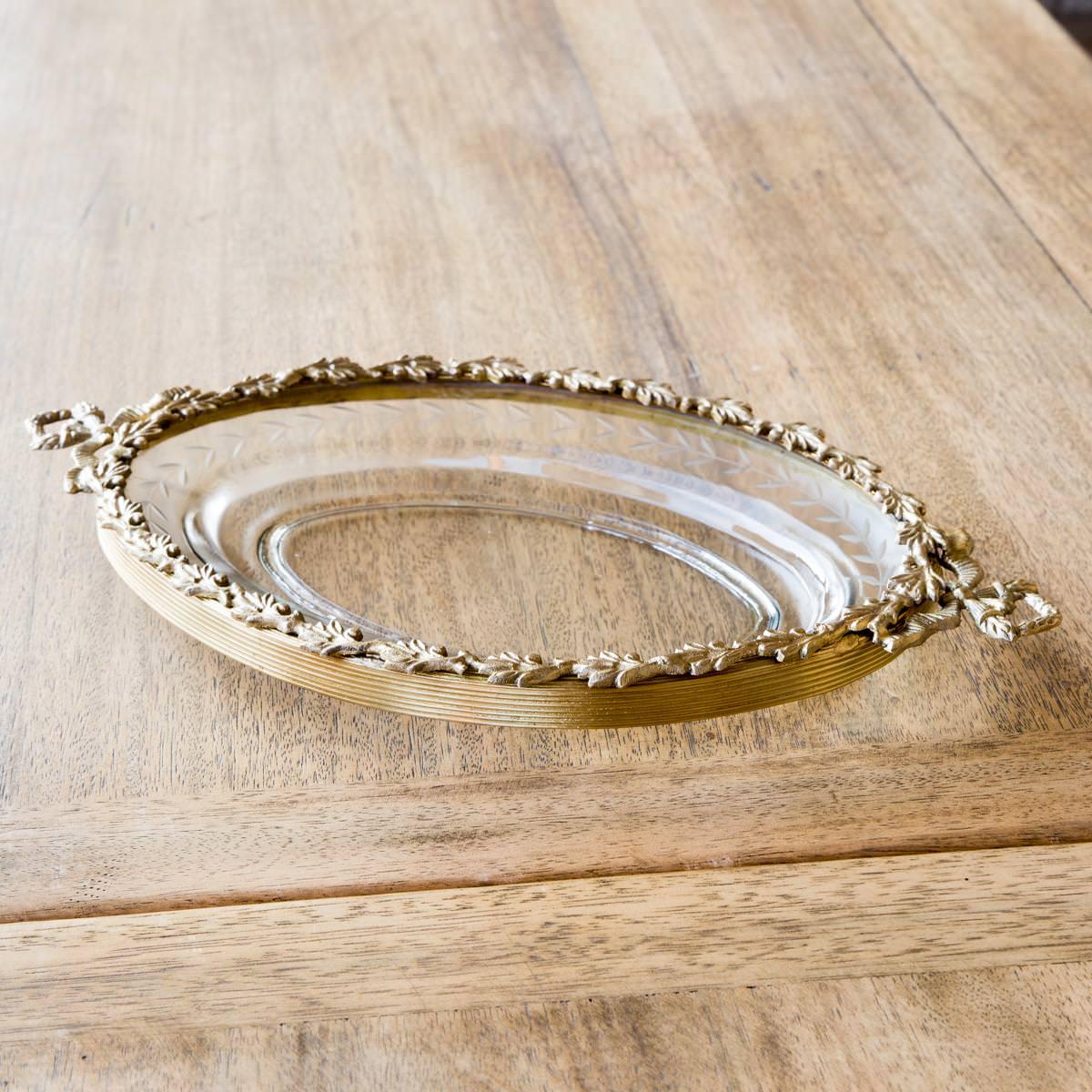 Antique Brass Leaf Trimmed Oval Glass Dish