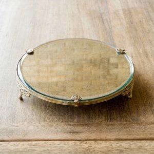 Antique Brass Trimmed Mirror Plateau
