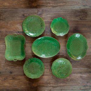 Glazed Garden Plates & Platters Set of 7