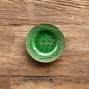 "Green Glazed Grape Leaf Dessert Plate, 7"" Min 4"