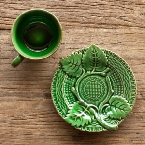 Green Glazed Tea Cup & Saucer Min 4