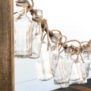 Bottle Garland Vases and Wooden Stanchion