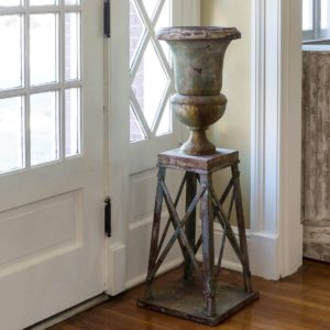 Aged Metal Parlor Urn With Stand Min 2